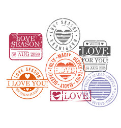 Stamps set of love season in colorful silhouette vector