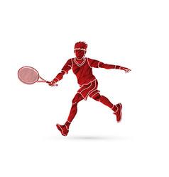 Tennis player running man play tennis movement vector