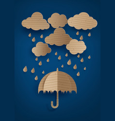 Umbrella in the air with rainning vector