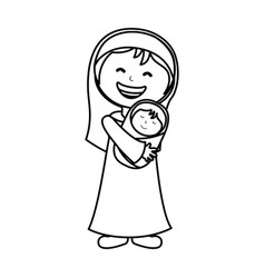 virgin mary manger character vector image vector image