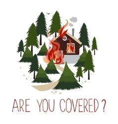 Wild fire in a forest Burning house vector image