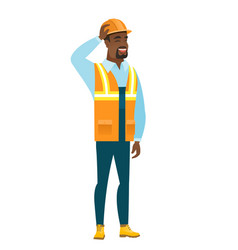 young african-american builder scratching his head vector image