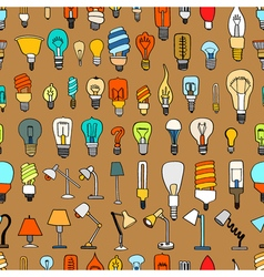 Set of cute vintage bulb doodle vector