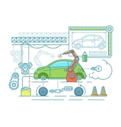 Vehicle assembling flat design vector