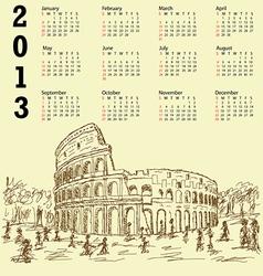 rome colosseum vintage 2013 calendar vector image