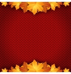 Autumn knitted warm background with space for text vector