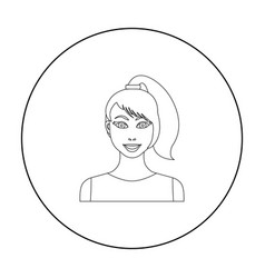 Brunette icon in outline style isolated on white vector
