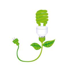 Dark green silhouette with spiral fluorescent lamp vector