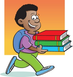Cartoon boy carrying books vector