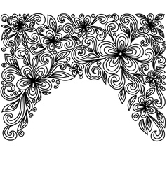 Black and white lace flowers and leaves vector