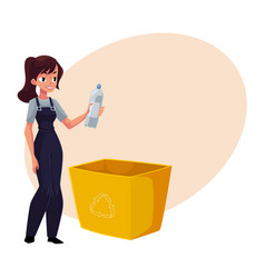 Young woman holding plastic bottle waste garbage vector