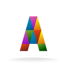 Letter a logo template color triangles vector