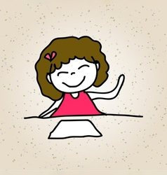Hand drawing happy kid girl in pink dress sitting vector