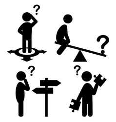 Confusion people with question marks flat icons vector