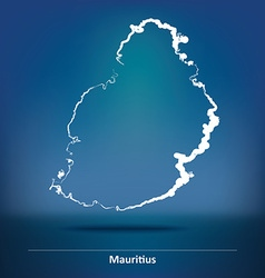 Doodle map of mauritius vector
