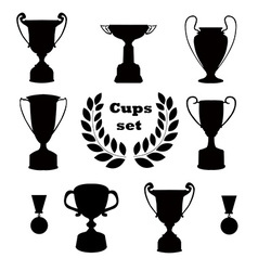 Trophies set of silhouettes vector