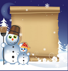 Snowmen on a winter background vector