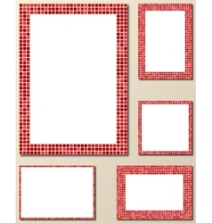 Red pixel mosaic page border template set vector