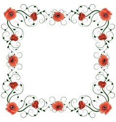 Delicate frame with red poppies isolated on white vector