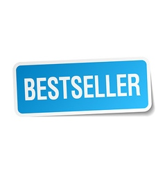Bestseller blue square sticker isolated on white vector