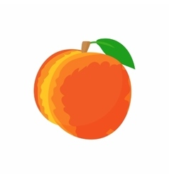 Ripe whole peach icon cartoon style vector