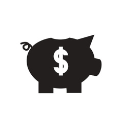 Flat icon in black and white piggy bank vector