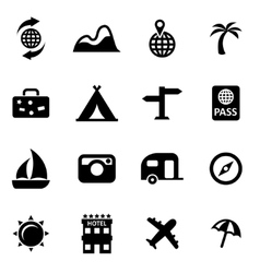 Black travel icon set vector