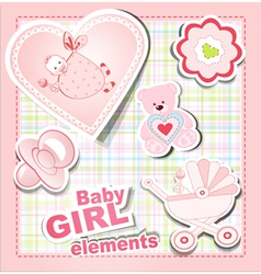 Baby girl items vector