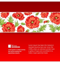 Background with red poppies vector image vector image