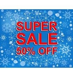 Big winter sale poster with super sale 30 percent vector