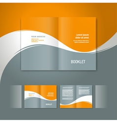 booklet design template white curve line orange vector image vector image