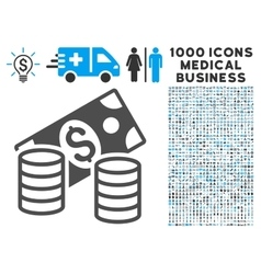 Cash Icon with 1000 Medical Business Pictograms vector image