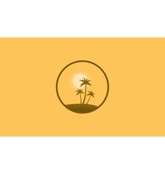Clump palm and sun scenery of silhouettes vector image vector image