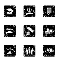 Confidence icons set grunge style vector