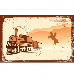 cowboy and locomotive vector image