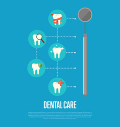 dental care banner with dentist mirror vector image vector image