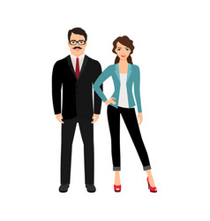 Elegant fashionable happy couple vector