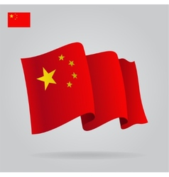 Flat and waving Chinese Flag vector image