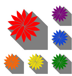 Flower sign set of red orange yellow green vector