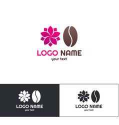 flowers coffee logo one vector image