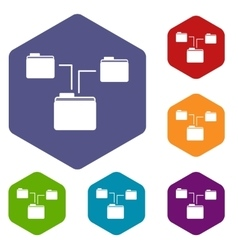 Folders structure icons set vector image vector image