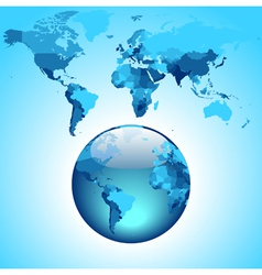 Globe on blue world map vector