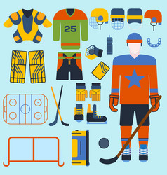 hockey set icons and player vector image