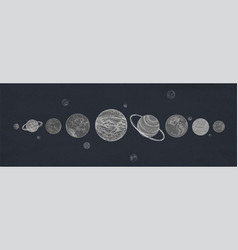 horizontal banner with planets of solar system vector image