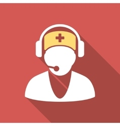 Hospital receptionist flat square icon with long vector