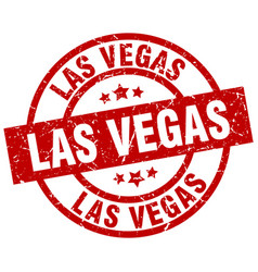 Las vegas red round grunge stamp vector