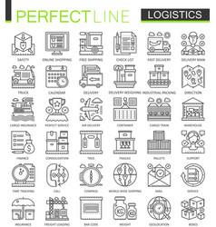 Logistics outline mini concept symbols modern vector