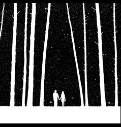 lovers in forest vector image