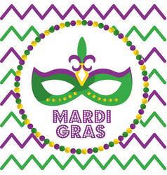 Mardi gras carnival mask with feathers round beads vector