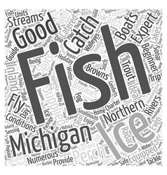 Michigan fishing word cloud concept vector